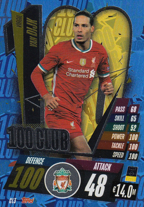 #CL3 Virgil Van Dijk (Liverpool) Match Attax Champions League 2020/21 100 CLUB