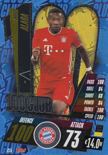 #CL4 David Alaba (FC Bayern Munchen) Match Attax Champions League 2020/21 100 CLUB