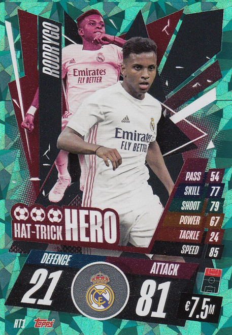 #HT1 Rodrygo (Real Madrid CF) Match Attax Champions League 2020/21 HAT-TRICK HERO