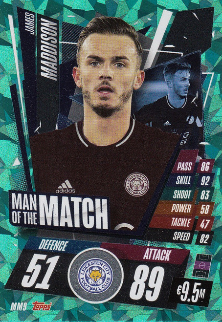 #MM9 James Maddison (Leicester City) Match Attax Champions League 2020/21 MAN OF THE MATCH