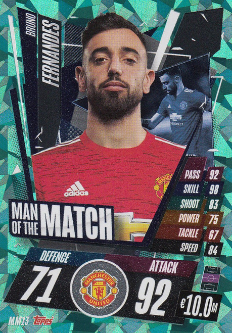 #MM13 Bruno Fernandes  (Manchester United) Match Attax Champions League 2020/21 MAN OF THE MATCH