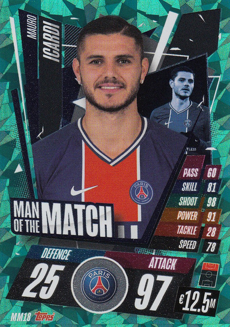 #MM18 Mauro Icardi (Paris Saint-Germain) Match Attax Champions League 2020/21 MAN OF THE MATCH