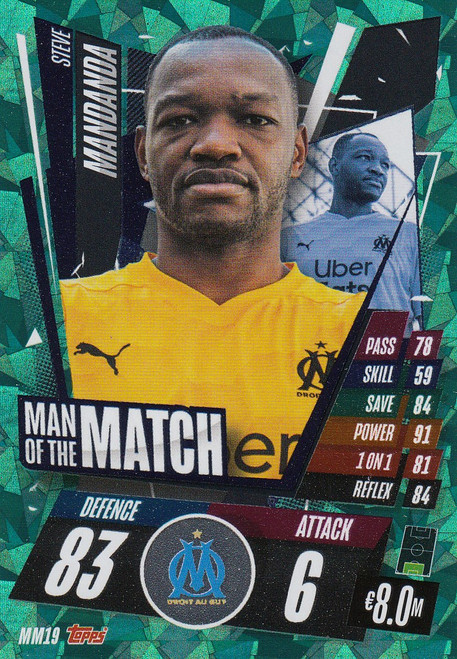 #MM19 Steve Mandanda (Olympique de Marseille) Match Attax Champions League 2020/21 MAN OF THE MATCH
