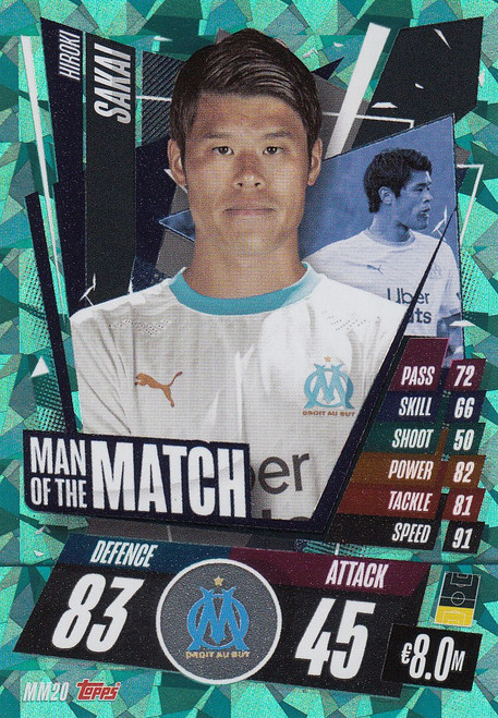 #MM20 Hiroki Sakai (Olympique de Marseille) Match Attax Champions League 2020/21 MAN OF THE MATCH