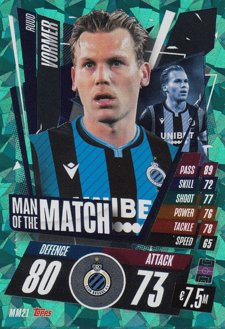 #MM21 Ruud Vormer (Club Brugge) Match Attax Champions League 2020/21 MAN OF THE MATCH