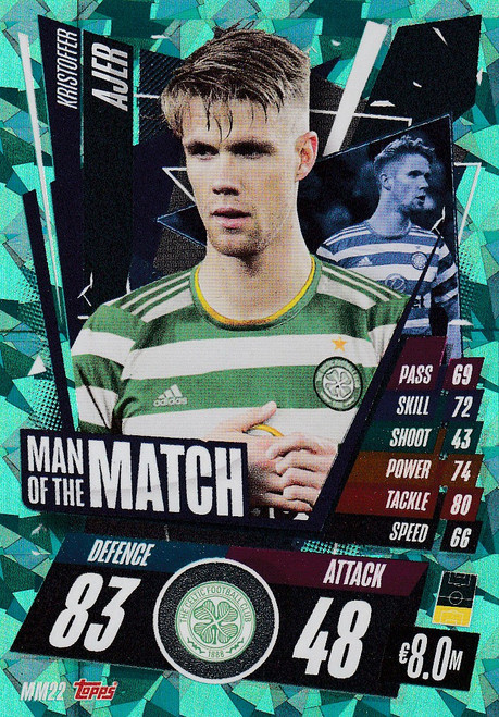 #MM22 Kristoffer Ajer (Celtic FC) Match Attax Champions League 2020/21 MAN OF THE MATCH