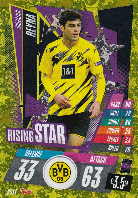 #RS11 Giovanni Reyna (Borussia Dortmund) Match Attax Champions League 2020/21 RISING STAR