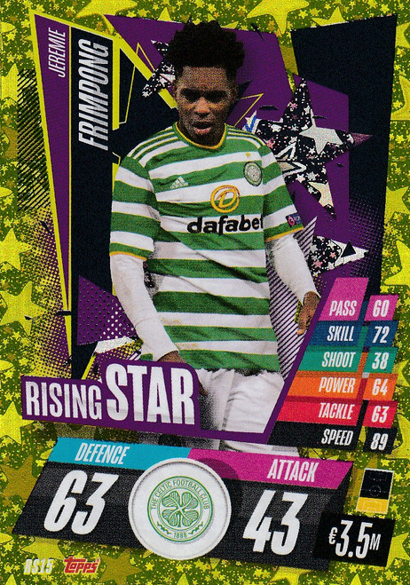 #RS15 Jeremie Frimpong (Celtic FC) Match Attax Champions League 2020/21 RISING STAR