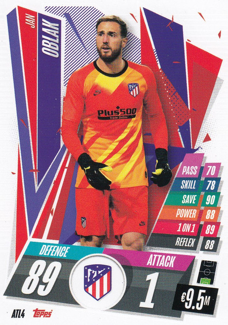 #ATL4 Jan Oblak (Atlético de Madrid) Match Attax Champions League 2020/21