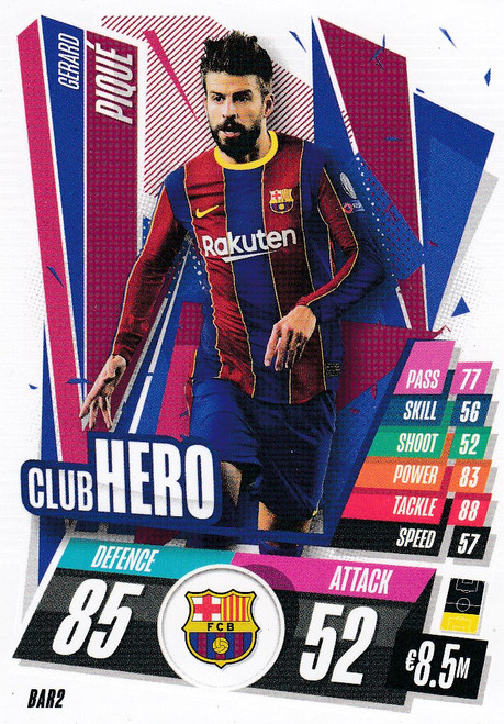 #BAR2 Gerard Pique (FC Barcelona) Match Attax Champions League 2020/21 CLUB HERO