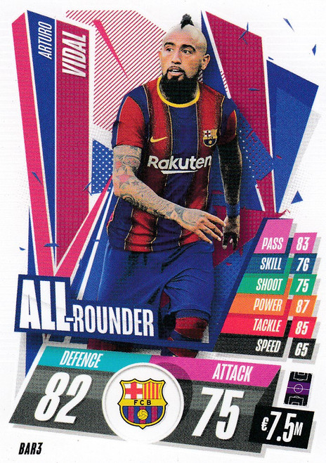 #BAR3 Arturo Vidal (FC Barcelona) Match Attax Champions League 2020/21 ALL ROUNDER