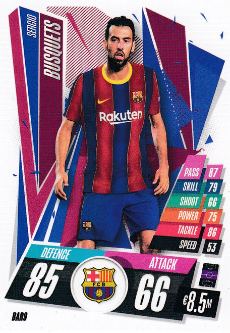 #BAR9 Sergio Busquets (FC Barcelona) Match Attax Champions League 2020/21