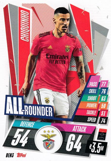 #BEN3 Chiquinho (SL Benfica) Match Attax Champions League 2020/21 ALL ROUNDER