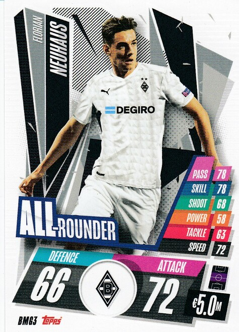 #BMG3 Florian Neuhaus (VfL Borussia Mönchengladbach) Match Attax Champions League 2020/21 ALL ROUNDER