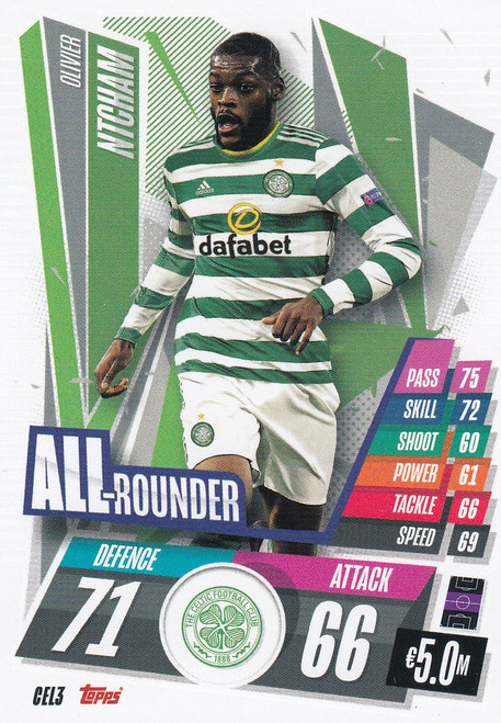 #CEL3 Olivier Ntcham (Celtic FC) Match Attax Champions League 2020/21 ALL ROUNDER