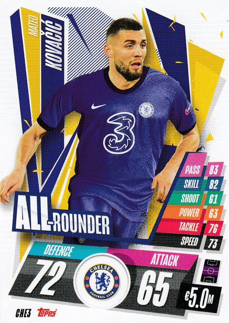 #CHE3 Mateo Kovacic (Chelsea FC) Match Attax Champions League 2020/21 ALL ROUNDER