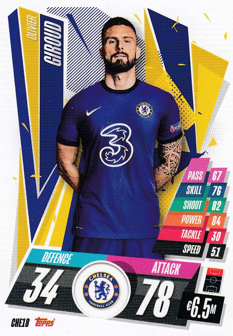 #CHE18 Olivier Giroud (Chelsea FC) Match Attax Champions League 2020/21