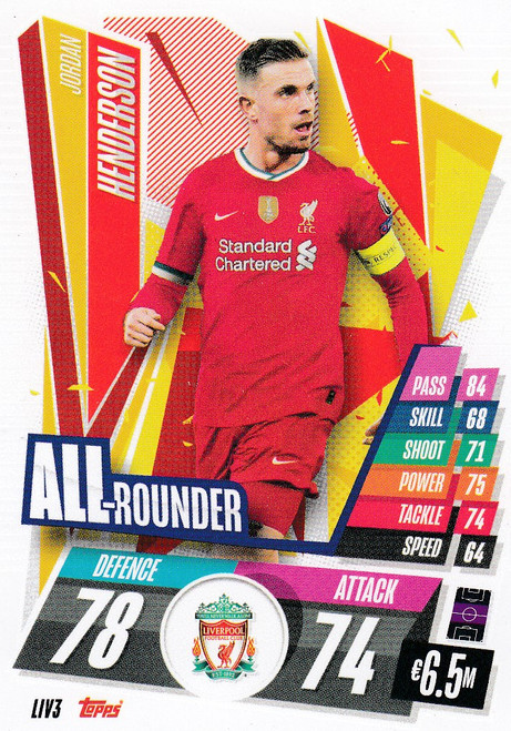 #LIV3 Jordan Henderson (Liverpool FC) Match Attax Champions League 2020/21 ALL ROUNDER