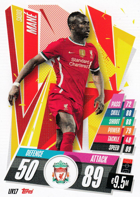 #LIV17 Sadio Mané (Liverpool FC) Match Attax Champions League 2020/21