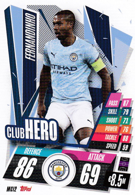 #MCI2 Fernandinho (Manchester City) Match Attax Champions League 2020/21 CLUB HERO