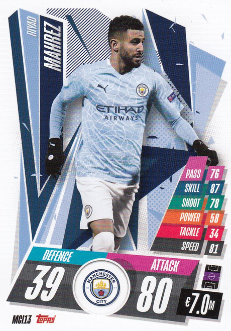 #MCI13 Riyad Mahrez (Manchester City) Match Attax Champions League 2020/21