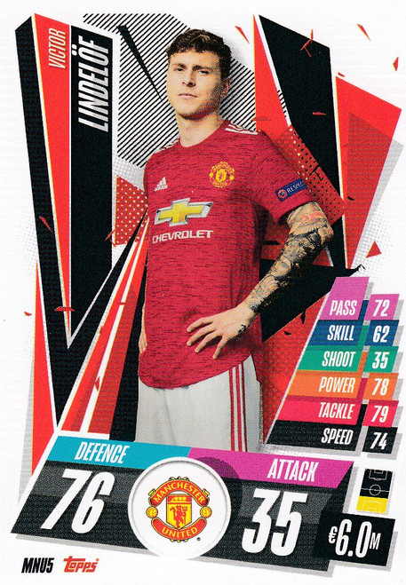 #MNU5 Victor Lindelöf (Manchester United) Match Attax Champions League 2020/21