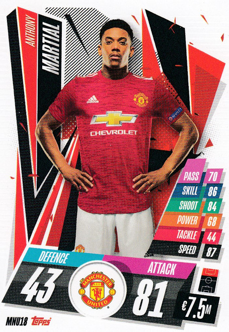 #MNU18 Anthony Martial (Manchester United) Match Attax Champions League 2020/21
