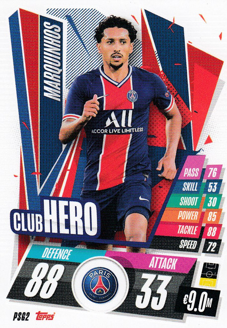#PSG2 Marquinhos (Paris Saint-Germain) Match Attax Champions League 2020/21 CLUB HERO