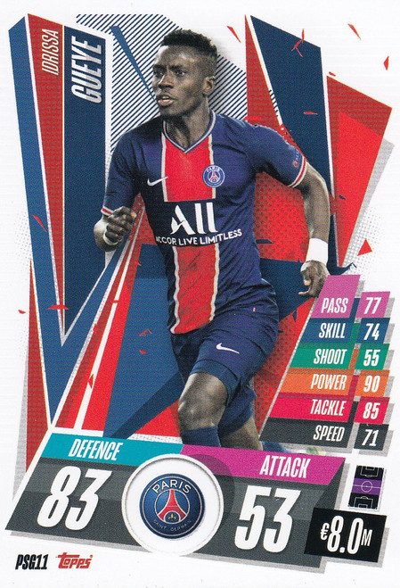 #PSG11 Idrissa Gueye (Paris Saint-Germain) Match Attax Champions League 2020/21