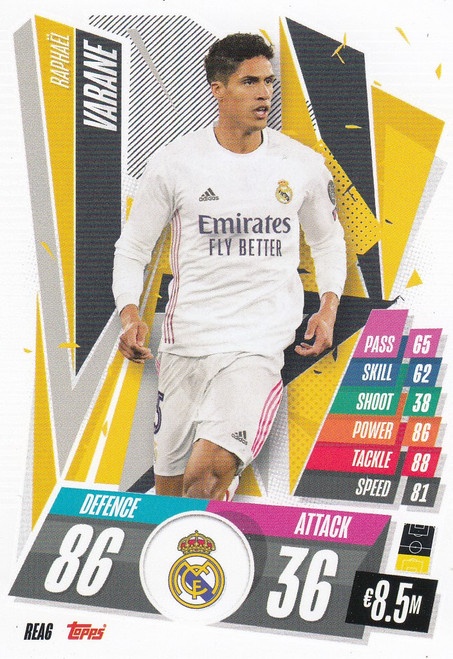 #REA6 Raphaël Varane (Real Madrid CF) Match Attax Champions League 2020/21