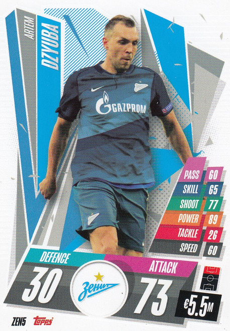 #ZEN5 Artem Dzyuba (FC Zenit) Match Attax Champions League 2020/21