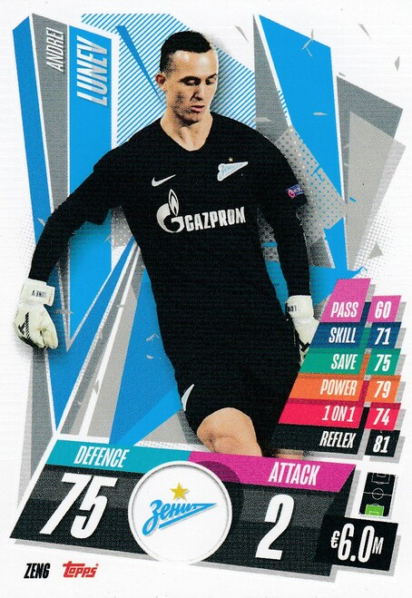 #ZEN6 Andrei Lunev (FC Zenit) Match Attax Champions League 2020/21