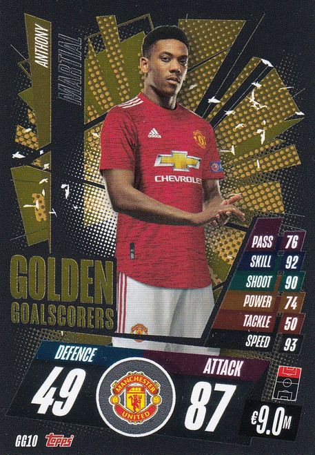 #GG10 Anthony Martial (Manchester United) Match Attax Champions League 2020/21 GOLDEN GOALSCORERS