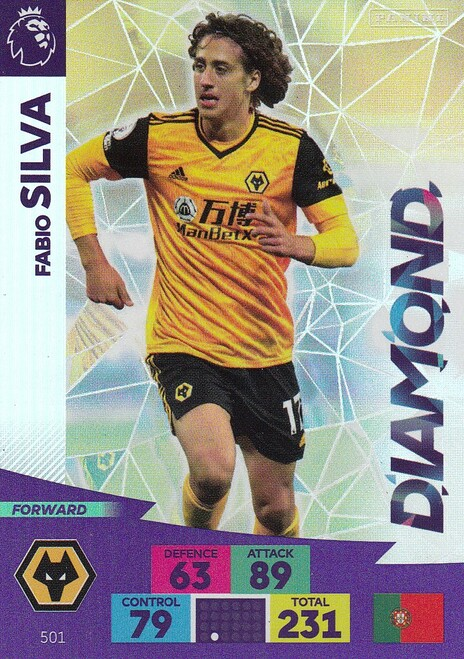 #501 Fabio Silva (Wolverhampton Wanderers) Adrenalyn XL Premier League PLUS 2020/21 DIAMONDS