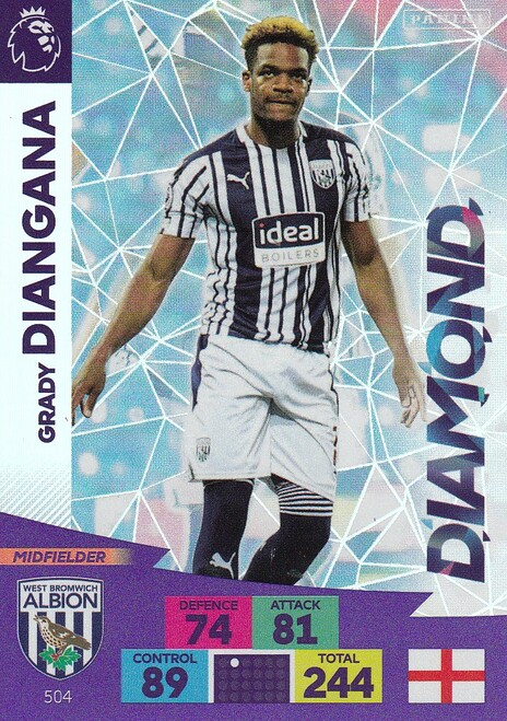 #504 Grady Diangana (West Bromwich Albion) Adrenalyn XL Premier League PLUS 2020/21 DIAMONDS