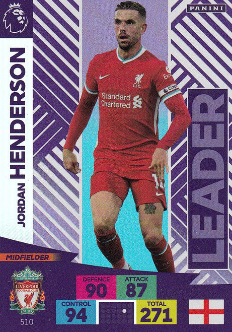 #510 Jordan Henderson (Liverpool) Adrenalyn XL Premier League PLUS 2020/21 LEADERS
