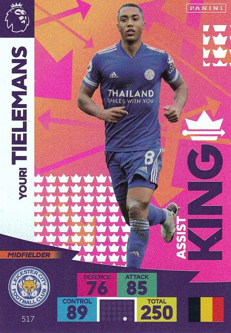 #517 Youri Tielemans (Leicester City) Adrenalyn XL Premier League PLUS 2020/21 ASSIST KINGS