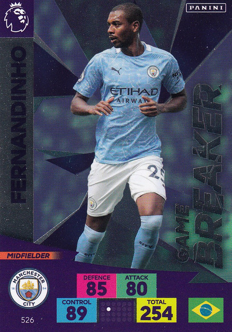 #526 Fernandinho (Manchester City) Adrenalyn XL Premier League PLUS 2020/21 GAME BREAKERS