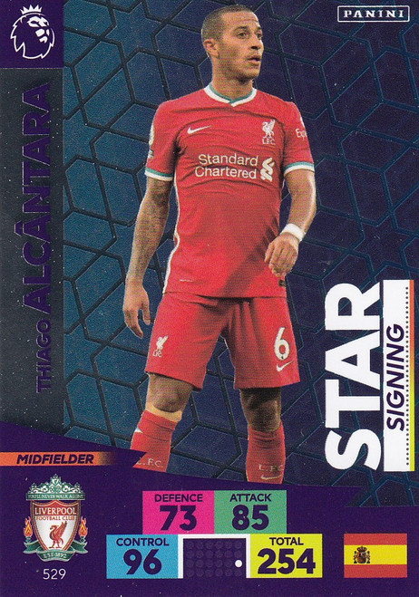 #529 Thiago Alcantara (Liverpool) Adrenalyn XL Premier League PLUS 2020/21 STAR SIGNINGS