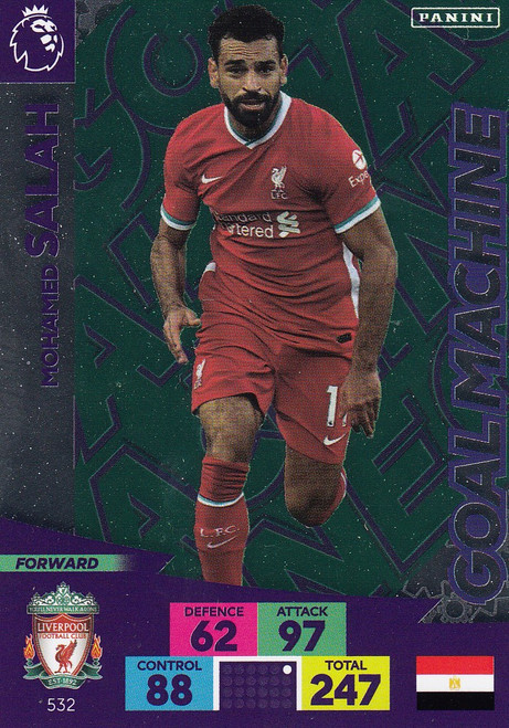 #532 Mohamed Salah (Liverpool) Adrenalyn XL Premier League PLUS 2020/21 GOAL MACHINES