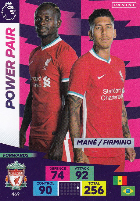 #469 Mane/ Firmino (Liverpool) Adrenalyn XL Premier League PLUS 2020/21 POWER PAIRS