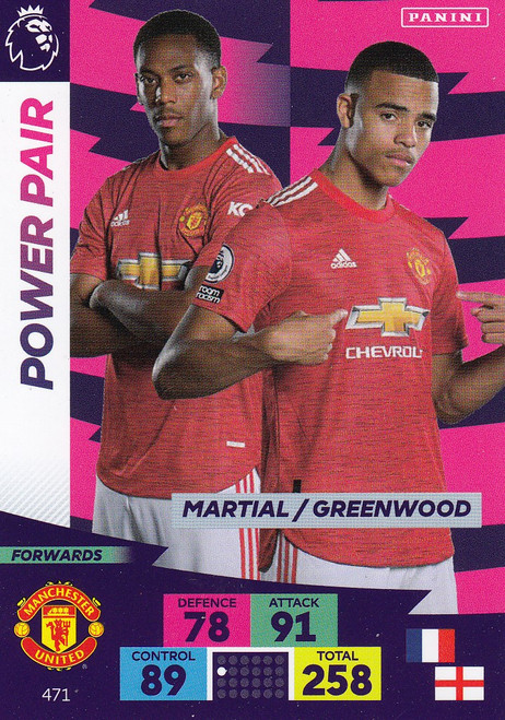 #471 Martial/ Greenwood (Manchester United) Adrenalyn XL Premier League PLUS 2020/21 POWER PAIRS