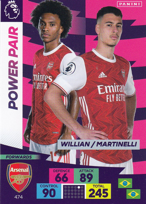 #474 Willian/ Martinelli (Arsenal) Adrenalyn XL Premier League PLUS 2020/21 POWER PAIRS
