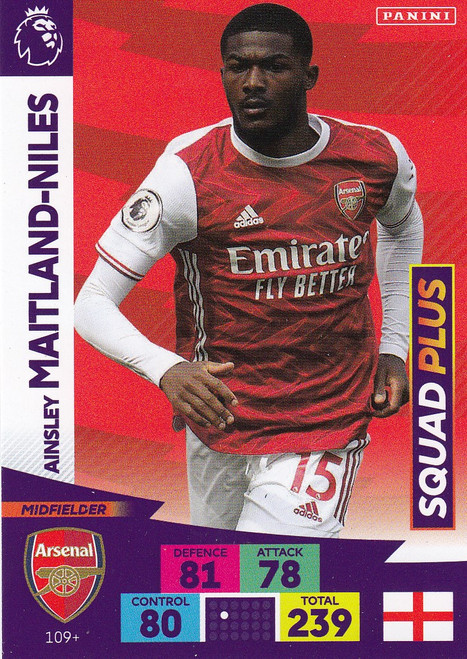 #109+ Ainsley Maitland-Niles (Arsenal) Adrenalyn XL Premier League PLUS 2020/21 SQUAD PLUS