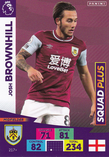 #217+ Josh Brownhill (Burnley) Adrenalyn XL Premier League PLUS 2020/21 SQUAD PLUS