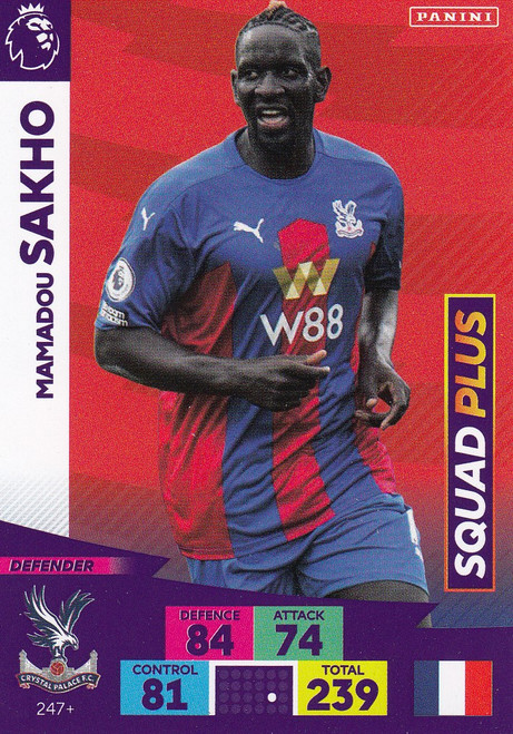 #247+ Mamadou Sakho (Crystal Palace) Adrenalyn XL Premier League PLUS 2020/21 SQUAD PLUS