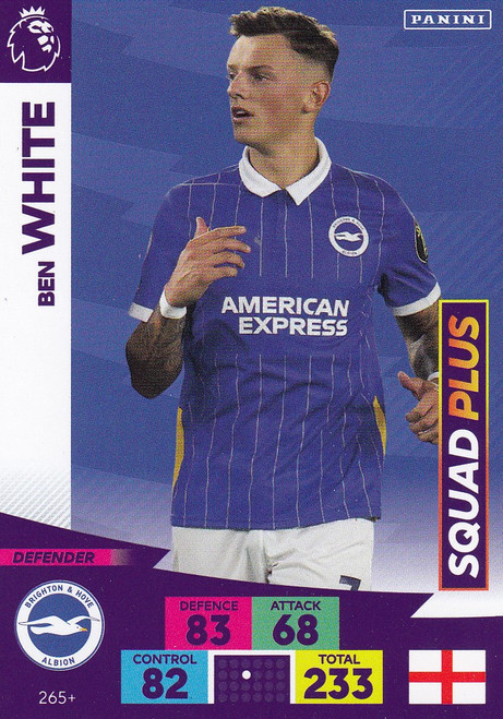 #265+ Ben White (Brighton & HA) Adrenalyn XL Premier League PLUS 2020/21 SQUAD PLUS