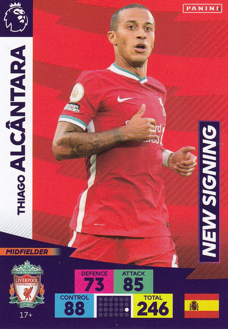 #17+ Thiago Alcantara (Liverpool) Adrenalyn XL Premier League PLUS 2020/21 NEW SIGNINGS