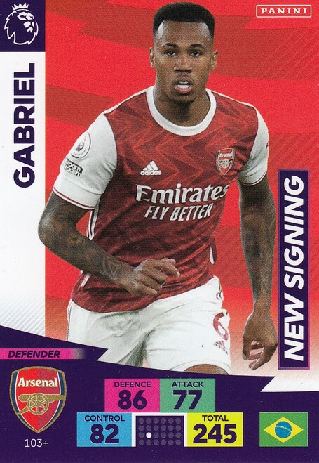 #103+ Gabriel (Arsenal) Adrenalyn XL Premier League PLUS 2020/21 NEW SIGNINGS