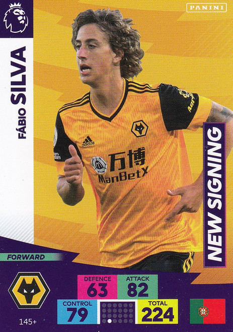 #145+ Fabio Silva (Wolverhampton Wanderers) Adrenalyn XL Premier League PLUS 2020/21 NEW SIGNINGS